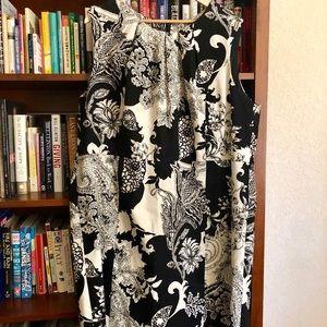 Talbots black/ivory sleeveless sheath dress.